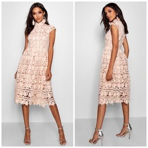 Boohoo Boutique Lace High Neck Skater Dress Nude